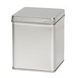 Zilver Vierkant Blik 100 Gram Met Scharnierdeksel